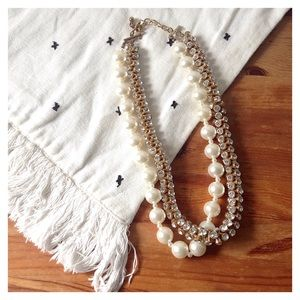 Oversized Pearl & Rhinestone Layered Rope Necklace